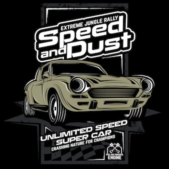 Speed and dusty, vector car illustration