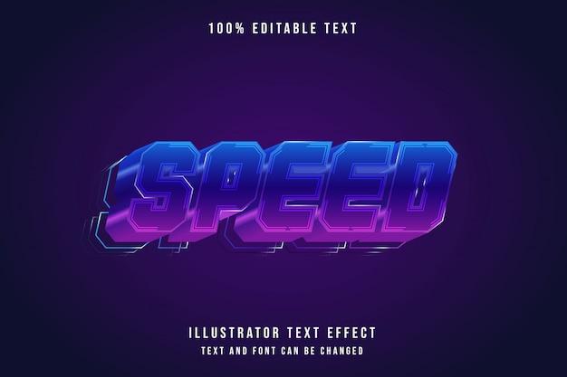 Скорость, редактируемый текстовый эффект, синяя градация, розовый неон, современный стиль