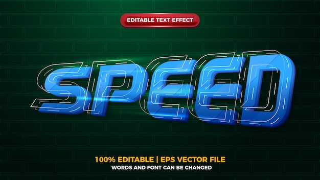 Speed future glow 3d editbale text effect