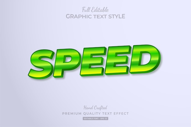 Speed green editable text style effect