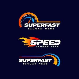 Speed indicator vector logo design Premium Vector