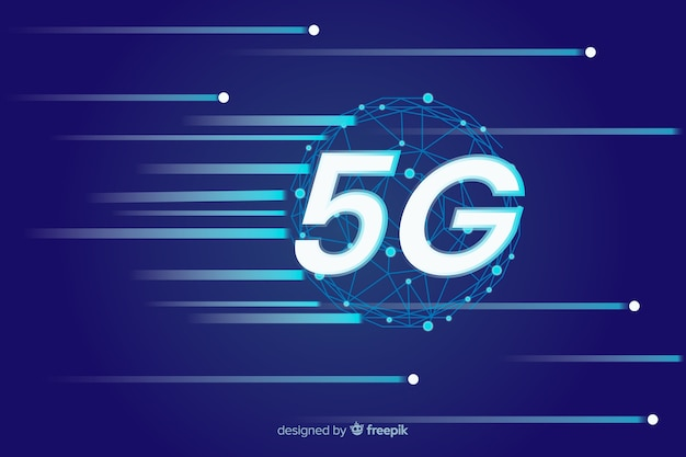 Speed internet power in 5g concept background
