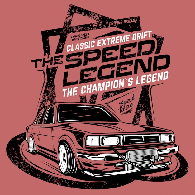 The speed legend, illustration of a classic drift car
