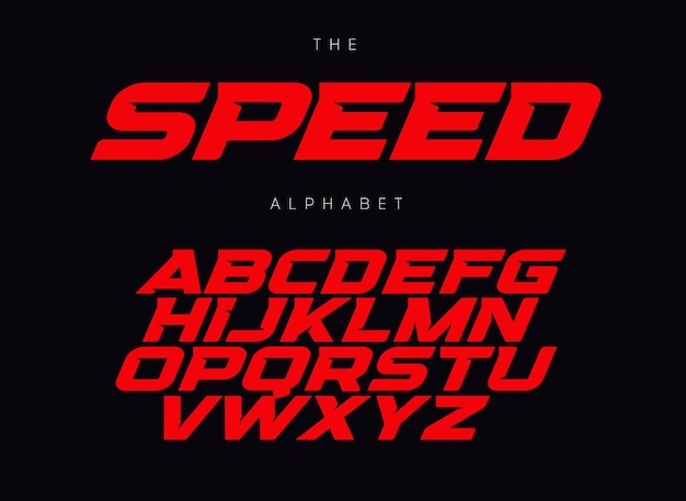 Speed letters set. red race font. italic bold racing style vector latin alphabet. fonts for event, promo, logo, banner, monogram and poster. typeset design