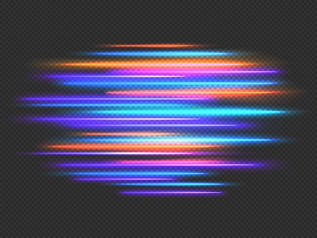 スピードライト効果。ネオンの速い動きのダイナミックな水平線。未来のレース、常夜灯のモーションブラー。スピーディーなストライプのベクトルの背景。照らされた交通路、カラフルな輝き