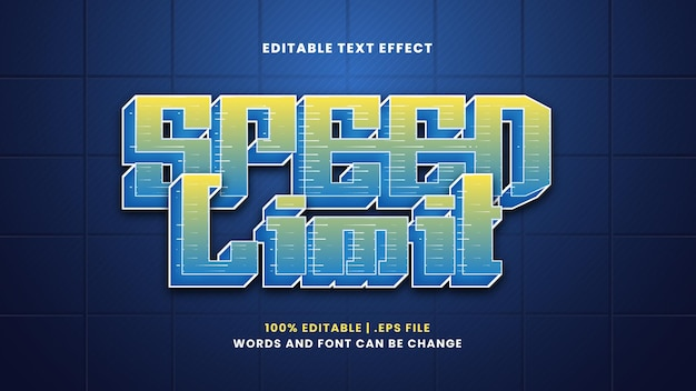 Speed limit editable text effect in modern 3d style