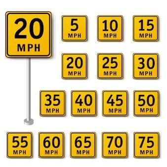 Изолированный знак ограничения скорости