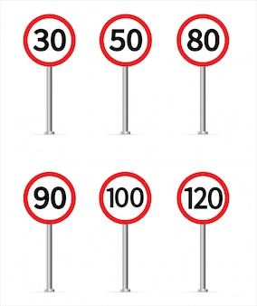 Speed limit traffic sign collection