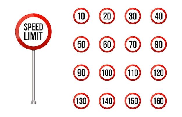 Набор дорожных знаков ограничения скорости. набор знаков ограничения скорости округлой дороги