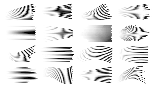 스피드 라인 효과. 빠른 모션 만화 또는 만화 선형 패턴. 수평 및 물결 모양의 자동차 움직임 줄무늬 또는 애니메이션 동작 동적 벡터 세트. 책 폭발, 움직임에 대한 다른 파도