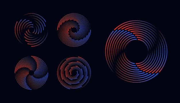 로고에 대한 원형 형태의 기하학적 예술 방사형 테두리의 속도 라인