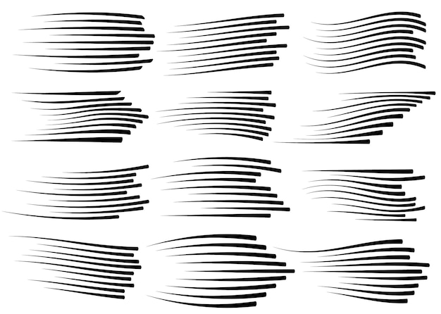 Speed lines isolated. black motion lines on white background.