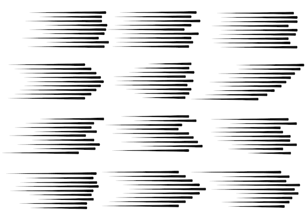 Speed lines isolated set