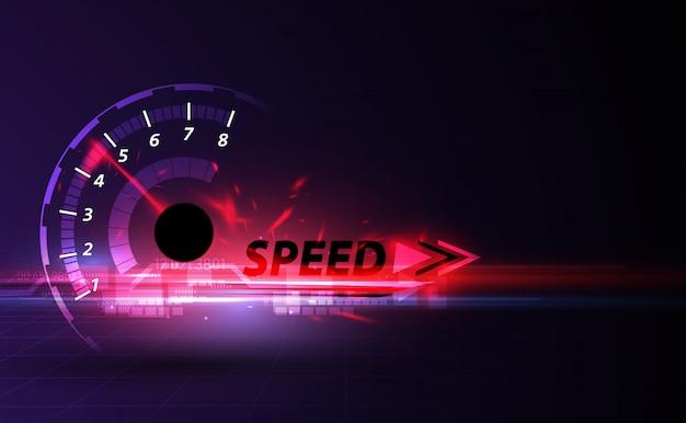 Скорость движения фона с быстрым спидометром автомобиля