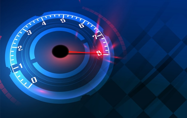 Speed motion background with fast speedometer car