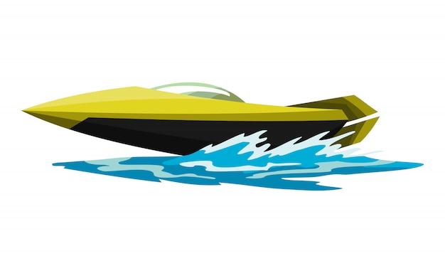 スピードモーターボート。海または川の乗り物。スポーツ海上夏の交通機関。海の水の波にモーターを備えられた水容器。白い背景で隔離