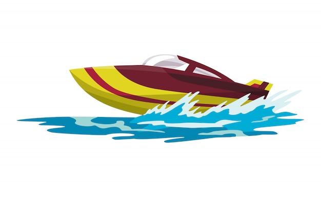 Скоростной моторный катер. морской или речной транспорт. летний спортивный морской транспорт. моторизованное водное судно на волнах морской воды