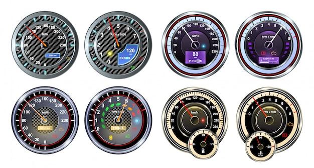 Скорость автомобиля реалистичный набор иконок. изолированные реалистичный набор значок спидометра. иллюстрация авто метр на белом фоне.