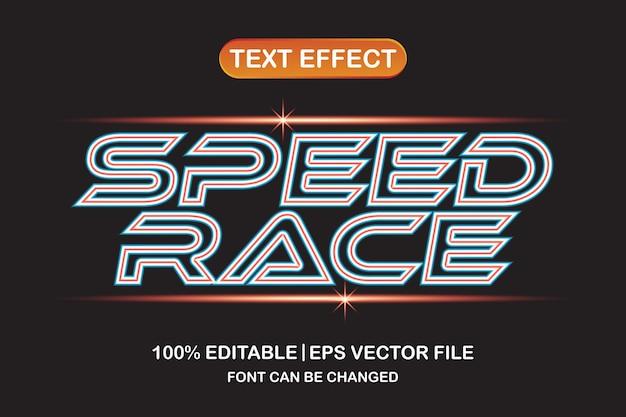 Speed race 3d editable text effect
