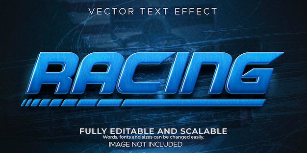 Текстовый эффект скоростной гонки, редактируемый быстрый и спортивный стиль текста.
