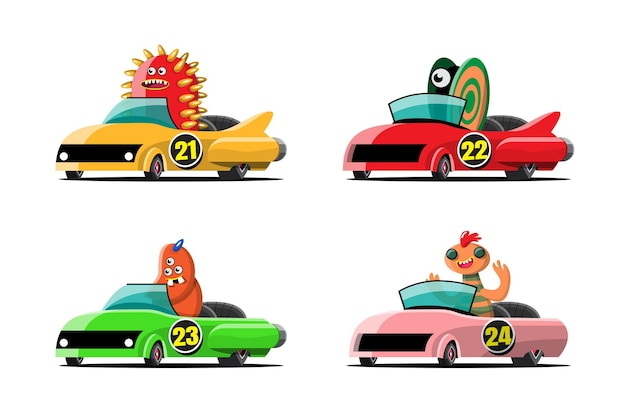 In speed racing game competition monster driver player used high speed car for win in racing game