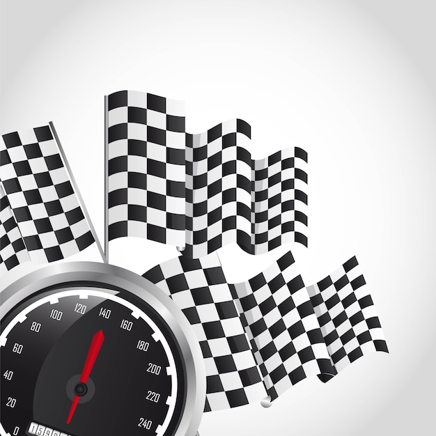 Speed racing over gray background vector illustration