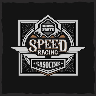 Speed racing label with lettering composition on dark