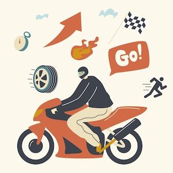 Speed racing, motocross rally illustration. biker male character wearing helmet riding motorbike take part in tournament