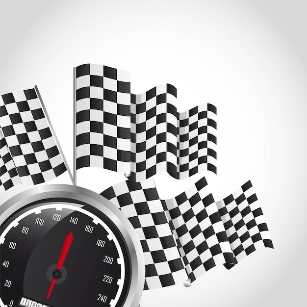 灰色の背景ベクトルイラスト以上のスピードレース