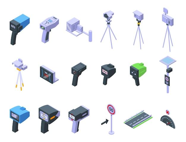 Speed radar icons set isometric vector. alert camera