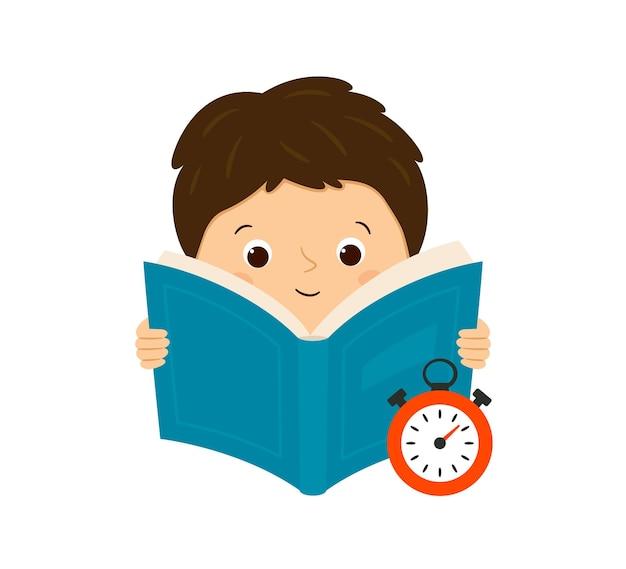 속도 읽기. 한 소년이 책을 읽고 읽는 속도를 측정합니다. 벡터 일러스트 레이 션 흰색 배경에 고립