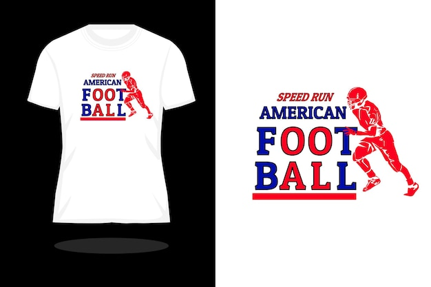 スピードランアメリカンフットボールタイポグラフィシルエットtシャツデザイン