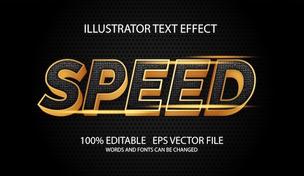 光沢のあるゴールドスタイルの編集可能なテキスト効果をスピードアップ