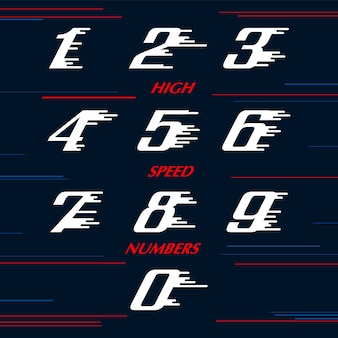 Speed sport numbers set logo design template. sport style typeface