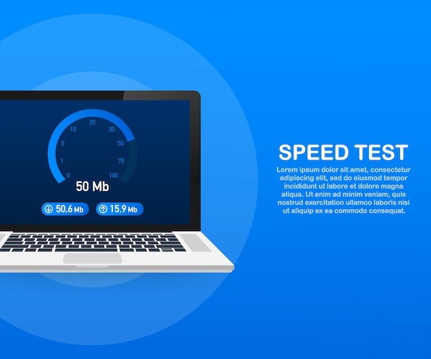 Speed test on laptop. speedometer internet speed 50 mb. website speed loading time. .