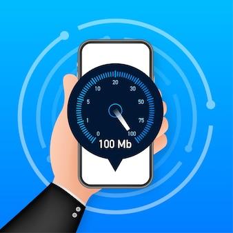 스마트폰 속도 테스트. 속도계 인터넷 속도 100mb. 웹사이트 속도 로딩 시간. 벡터 일러스트 레이 션.