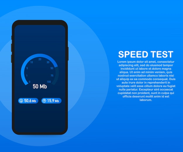 Speed test on smartphone. speedometer internet speed 50 mb. website speed loading time. .
