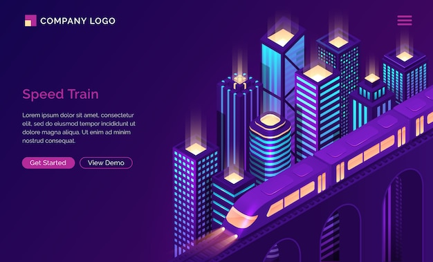 Speed train electric subway isometric landing page