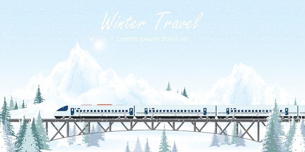 Speed train on railway bridge on winter landscape.