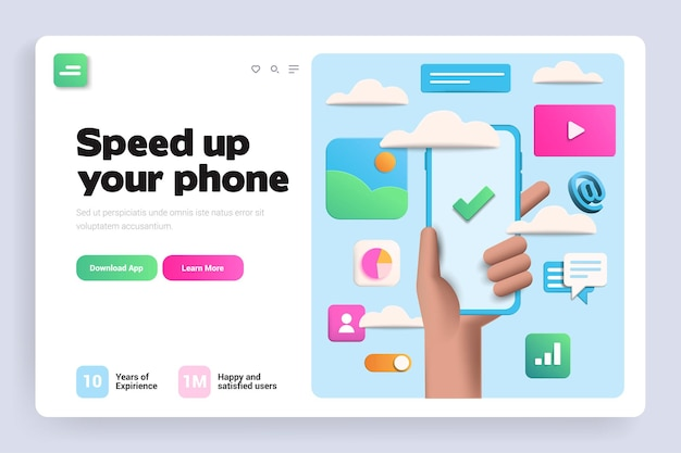 Speed up your phone 3d landing page