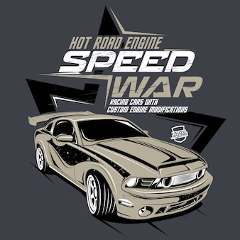 Speed war,  illustration of a classic fast car