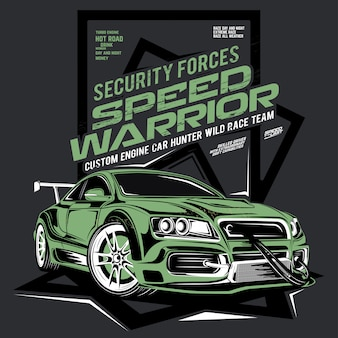 Скорость воин, автомобиль сил безопасности, иллюстрация дрифт спортивного автомобиля
