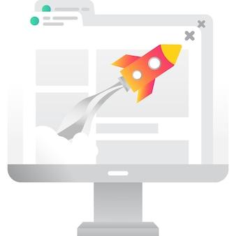 Скорость веб-сайта значок быстрого браузера вектор на белом