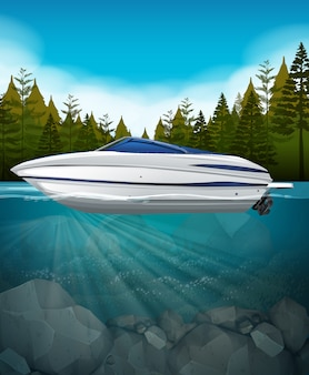 A speedboat in the lake