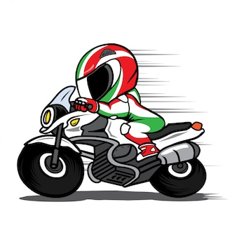 Speeding motorcycle racer cartoon vector