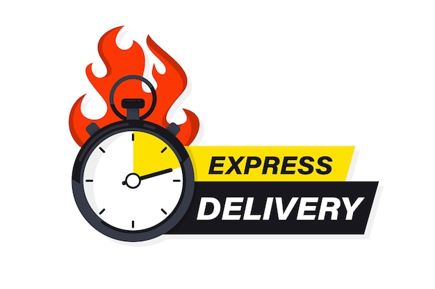 Speeding stopwatch on fire with inscription express delivery. sticker, fast delivery. timer and express delivery. urgent shipping services. online delivery, quick move. fast distribution service 24/7