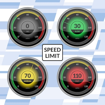 Speedometer  car speed dashboard panels vector illustration set of speed-limit control technology gauge with arrow or pointer.