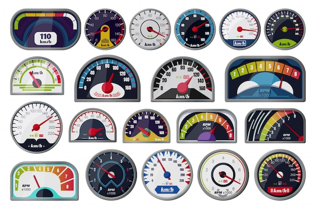 Speedometer  cartoon set icon.  illustration speed of car on white background . cartoon set icon speedometer.