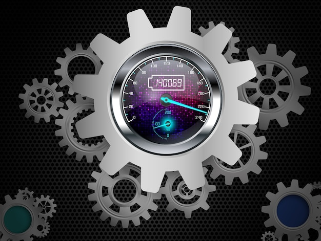 Speedometer concept with gears frame on a black background