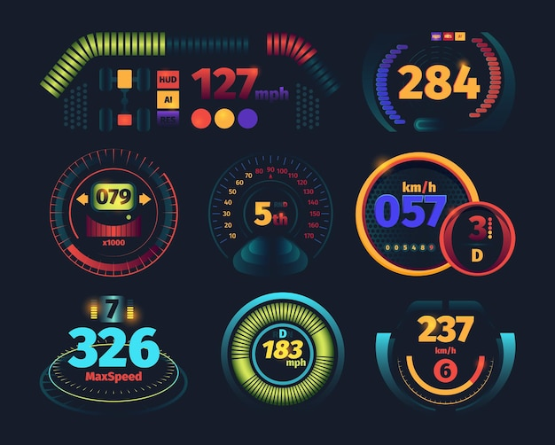 속도계. 지표 위험 속도 화살표가 있는 엔진 모터 주행 거리계 자동차 대시보드는 미래 지향적인 그림입니다. 자동차 속도계 측정, 자동차 대시보드 패널